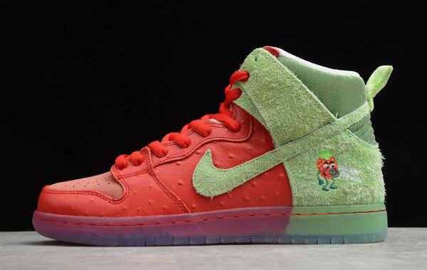 """Nike SB Dunk High """"Strawberry Cough"""" University Red/Spinach Green-Magic Ember 2020 CW7093-600 For Sale Online"""